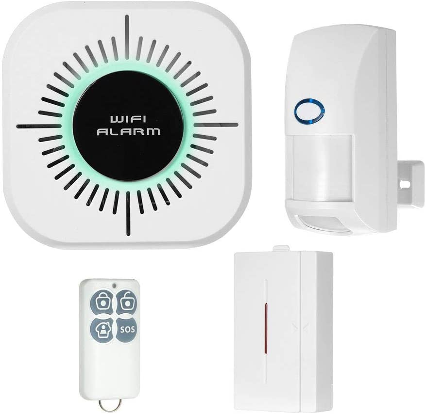 WiFi Alarm System, Wireless LAN+Wi-Fi+GSM Cellular Smart/BusHomeiness Security Alarm DIY Kits, Alarm Host, Infrared Motion/Door&Window Sensor, Remote Controller, Alert with iOS&Android App