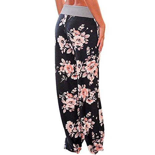 Pants Large Noir De 0486 Sport Décontracté Yoga Taille Eté Femme D'intérieur Imprimé Pantalon Pyjama Détente Floral Elastique Jambe Jogging Grande pwHBPYq