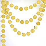 Gathere 5 Pack Gold Circle Dots Glitter Paper Garland Bunting Hanging for Wedding Birthday Home Party Decoration 1pcs 13feet