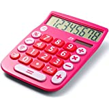 Office+Style 8 Digit Dual Powered Desktop Calculator, LCD Display, Pink