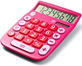 Office Style 8 Digit Dual Powered Desktop Calculator - Pink Deal