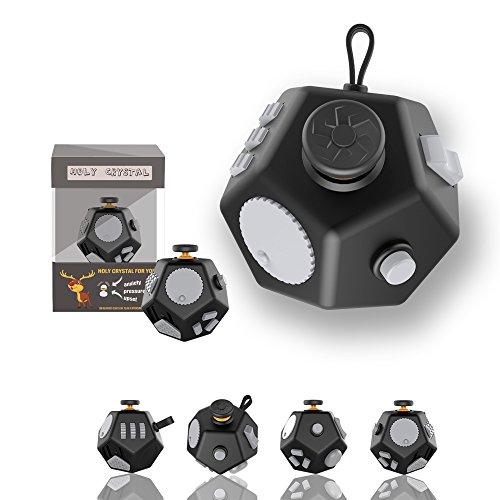 Pybrainpower 12 Sides Fidget Cube Toys are Typically Intended to Help Students with Autism Or ADHD Focus Better, Relieves Stress and Anxiety for Children and Adults (E-Black) by Pybrainpower