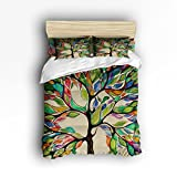Extra Large King Size Comforter Sets 4 Pieces Home Comforter Bedding Sets Duvet Cover Sets Bedspread for Adult Kids,Flat Sheet,Shams Set,Colorful Big Tree,Tree of Life Digital Printing - King Size