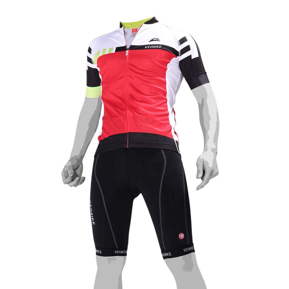 rouge XL VêteHommests d'été pour Hommes, Ensemble de Cyclisme à Manches Courtes, Maillots de vélo, Fermeture à glissière complète et jambières pour Le Cyclisme à séchage Rapide
