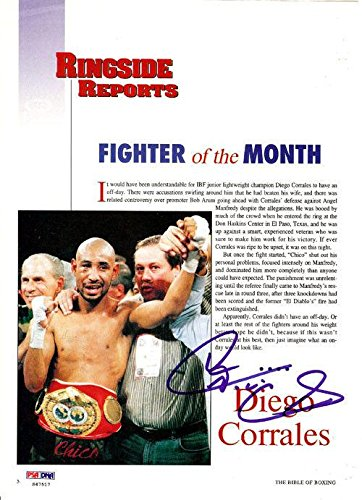 Diego Corrales Authentic Autographed Signed Magazine Page Photo S47517 PSA/DNA Certified Autographed Boxing Magazines