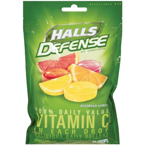 Halls Defense Vitamin C, 30-count (Pack of 6)