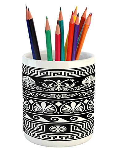 Lunarable Tribal Pencil Pen Holder, Ornamental Design of Antique Greek Borders Horizontal and Repeating Pattern, Printed Ceramic Pencil Pen Holder for Desk Office Accessory, Black and White (Horizontal Bar Pattern)