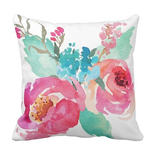 Watercolor Peonies Pink Turquoise Summer Bouquet Throw pillow case 16*16 (Pillow Peony)