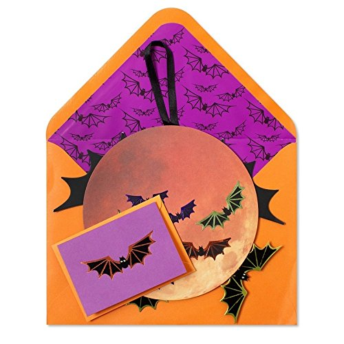 Halloween Card Harvest Moon w Bats Decorative Mobile by (Halloween Cards For Friends)