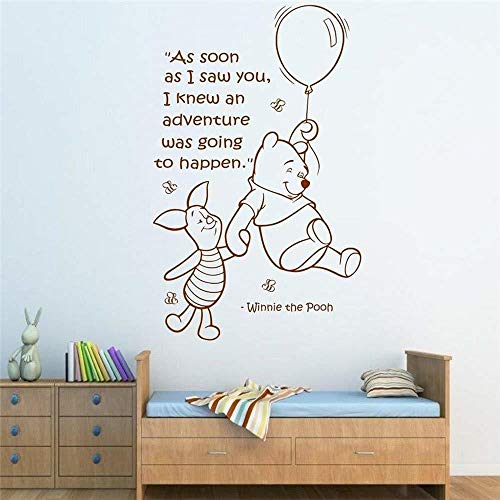 Winnie Pooh Wall Stickers - WOVTCP Winnie The Pooh Quote Decal Adventure Time Lettering Wall Decal Sticker Vinyl Balloon Bear Theme Bedroom Nursery Wall Art Home Decor?Black