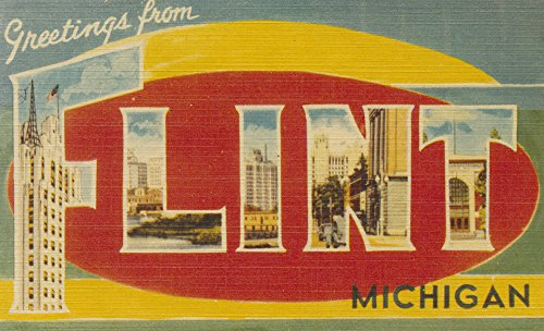 Greetings from Flint, Michigan Collectible Art Print, Wall Decor Travel Poster