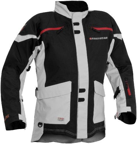 (Firstgear TPG Rainier Men's Motorcycle Jacket (Black/Silver, Large) )