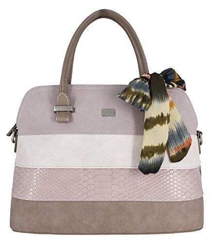 David Jones - Women Bugatti Handbag - Ladies Bowling Bag Multicolor Stripes Shoulder Bag - Nubuck Croco Snake Rigid Faux Leather Top Handle Bag - Scarf City Elegant Classic Satchel - Verde Kaki Rosa