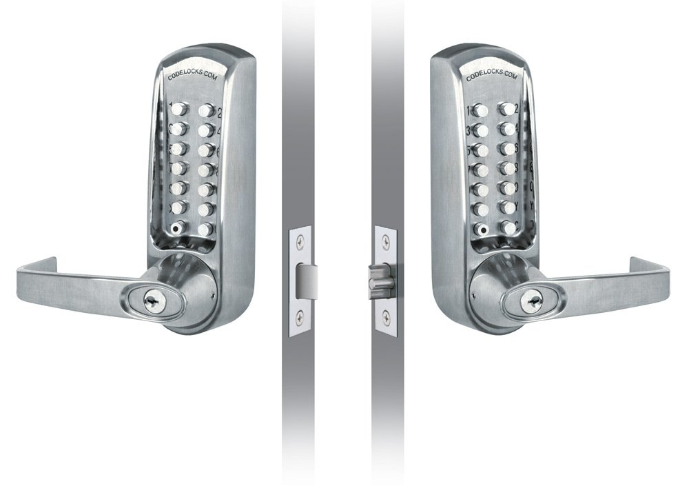 Codelocks Back to Back Mechanical Lock 2.3/8'' (60 mm) Tubular Latch Heavy Dury Bypass No Key Brushed Steel