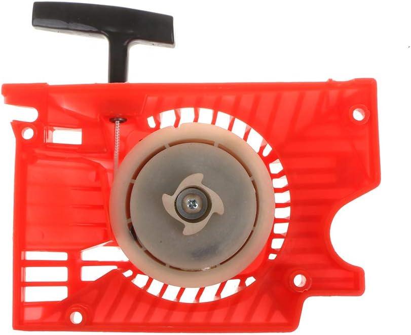 JOYKK Arrancador de Arranque de Retroceso único para la Motosierra China 4500 5200 5800 - Negro y Rojo