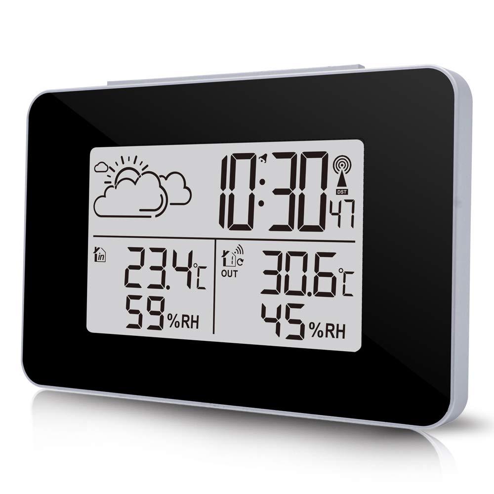 Term/ómetro Dom/éstico para Interiores//Exteriores SmartHitech Estaci/ón Meteorol/ógica Digital Inal/ámbrica Despertador Luminoso con Sensor de Temperatura y Humedad