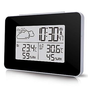 TiooDre Estacion Meteorologica Interior Exterior, Estacion Meteorologica Inalambrica WiFi con Reloj Termometro Higrometro Digital Función: Amazon.es: ...