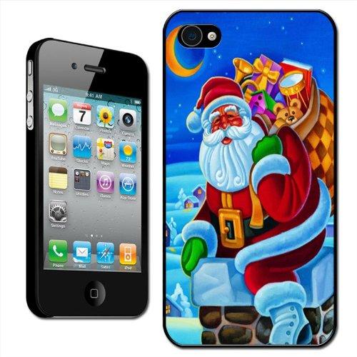 """Fancy A Snuggle Schutzhülle, Hard Case für Apple iPhone 4/4S, Motiv """"Weihnachtsmann mit Sack voller Geschenke auf Schornstein"""", zum Anklippen"""