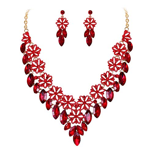 BriLove Women's Wedding Bridal Crystal Multi Flower Marquise Cluster Enamel Statement Necklace Dangle Earrings Set Ruby Color Gold-Toned ()