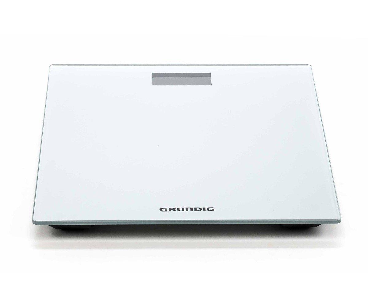 - Báscula de cristal, Grundig, pantalla digital, de superficie gris, diseño minimalista, higiénico, fácil de usar, tamaño aprox.