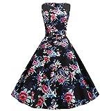Women's Vintage Sleeveless Print Pleated Dresses Casual O Neck Swing Dress