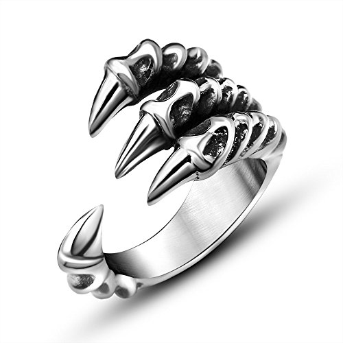FANSING Jewelry Mens Stainless Steel Dragon Claw Rings