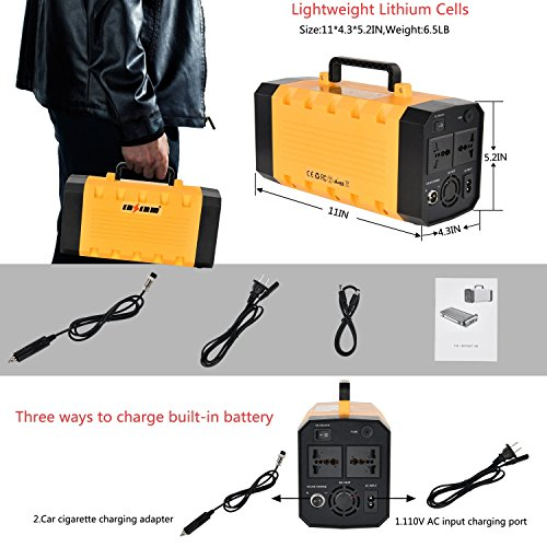 500W Portable Generator Power Inverter, LNSLNM 288Wh/90,000mAh Camping CPAP Battery Backup Home Power Source Charged by Solar Panel/Wall Outlet/Car with Dual 110V AC Outlet, 4 DC 12V Ports, USB Ports by LNSLNM (Image #6)
