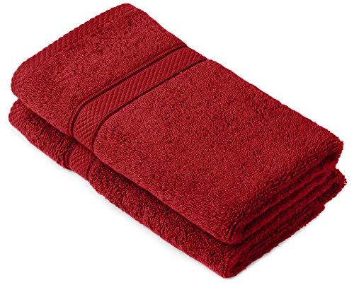 Pinzon by Amazon Lot de 2serviettes de bain en coton Rouge Canneberge