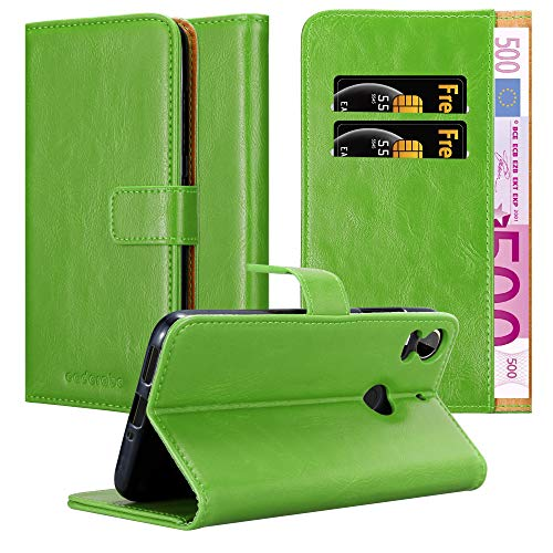 Cadorabo Book Case Works with HTC Desire 10 PRO in Grass Green - with Magnetic Closure, Stand Function and Card Slot - Wallet Etui Cover Pouch PU Leather Flip
