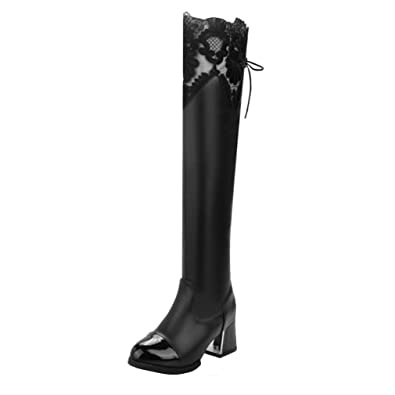 YE Damen Spitze Overknee Langschaft Stiefel High Heels mit Schnürung Hinten  Blockabsatz Kniehoch 6cm Absatz Boots