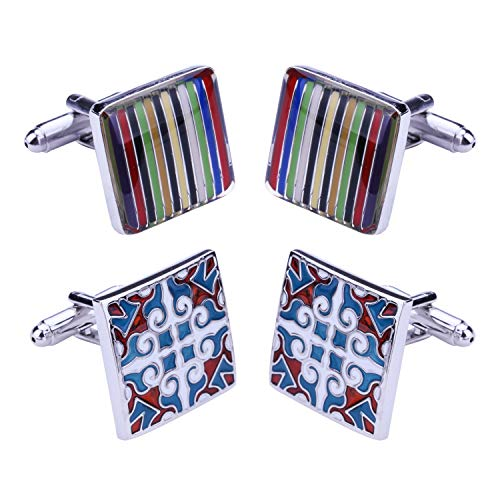 BodyJ4You 4PC Cufflinks Button Toy Square Mosaic Pattern Classic Design Business Gift Set