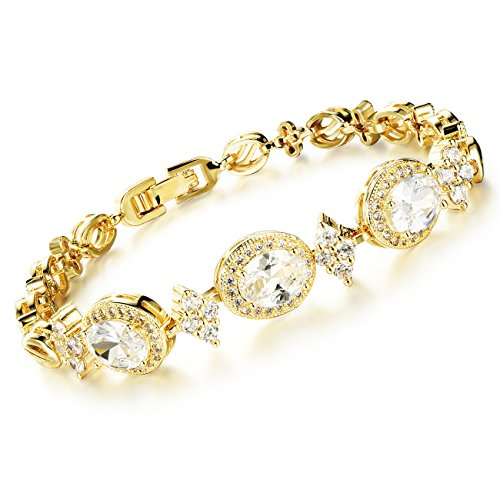 18K Gold Tone Titanium Steel Lucky Roman Zircon Bracelet for Women L7.08