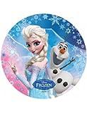 Disque azyme Reine des neiges pour décoration de gâteau - Modèle Elsa Olaf - 20cm