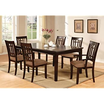 Furniture Of America Madison 7 Piece Dining Table Set With 18 Inch Leaf,