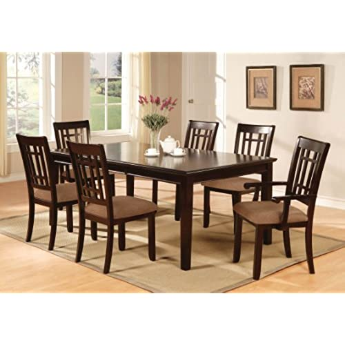 Furniture Of America Madison 7 Piece Dining Table Set With 18 Inch Leaf,  Dark Cherry Finish