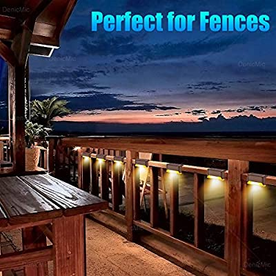 DenicMic 16 Pcs Solar Deck Lights Fence Post Solar Lights for Patio Pool Stairs Step and Pathway, Weatherproof LED Deck Lights Solar Powered Outdoor Lights (Warm White)