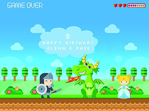 Custom Home Decor Fairy Tale Video Game Style Birthday Poster for Kids - Size 24x36, 48x24, 48x36; Personalized Fairy Theme Happy Birthday Banner Wall Décor, Handmade Party Supplies Poster Print