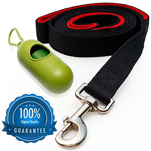 [Strong] Dog Leash with Bonus FREE Waste Bag Dispenser – Thick Padded Dual Handles & 100% Nylon (6ft. Long) – Comfortable Grip – Ideal for Large, Medium and Small Dogs 51ALnoeFGML