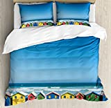 Travel King Size Duvet Cover Set by Ambesonne, Colorful Bathhouses at Muizenberg Cape Town South Africa Standing in a Row Touristic, Decorative 3 Piece Bedding Set with 2 Pillow Shams, Multicolor