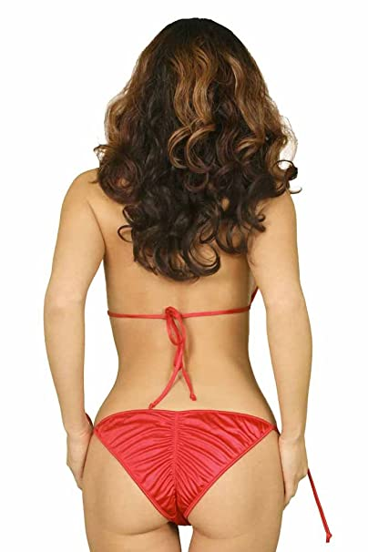 9a1428b5c8d Katrinas Women's Red Ruched Back Side-tie Bikini Swimsuit at Amazon Women's  Clothing store: