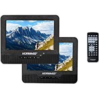 Koramzi Portable 7 Dual Screen DVD Player with Rechargeable Battery/AC Adapter/USB &SD Card Reader/Remote Control/Car Adapter/IR Transmitter Ready/USB/Headrest Mounting Kit/Stereo Earbuds-PDVD-DS7