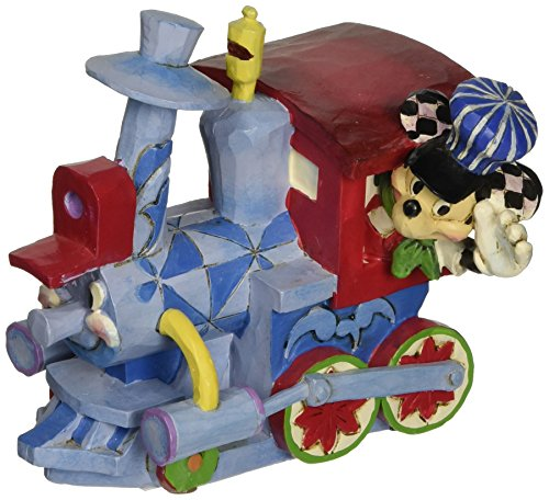 """Disney Traditions by Jim Shore Mickey Mouse and Casey Jr. Birthday Train Stone Resin Figurine, 4"""""""