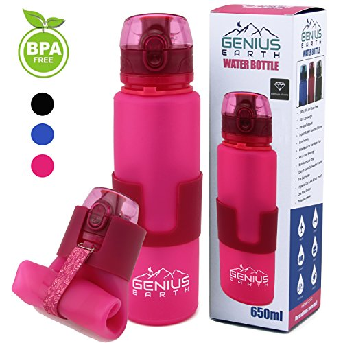 Genius Earth Collapsible Water Bottle - Foldable, Portable, Silicone Drinking Water Bottle with Strap for Hiking, Sports & Travel. Perfect for Men, Women and Kids. BPA Free, 22 Ounce. Pink