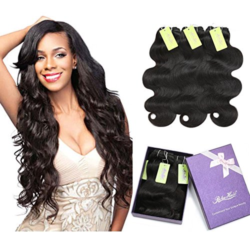 Indian Body Wave Virgin Hair Bundles, Re4U Virgin Human Hair Bundles Unprocessed Tangle Free Weave Extensions Double Weft (Natural Color 20