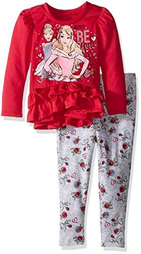 Disney Little Girls' Toddler Princess Legging Set With Fashion Top, Pink, 2T