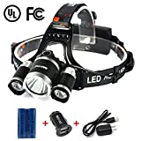 #1: Mifine LED Headlamp - 4 Modes, 3000lm Ultra-Bright Outdoor Headlight with Rechargeable Batteries, Dual-port Car Charger, Wall Charger and Dedicated USB Cable