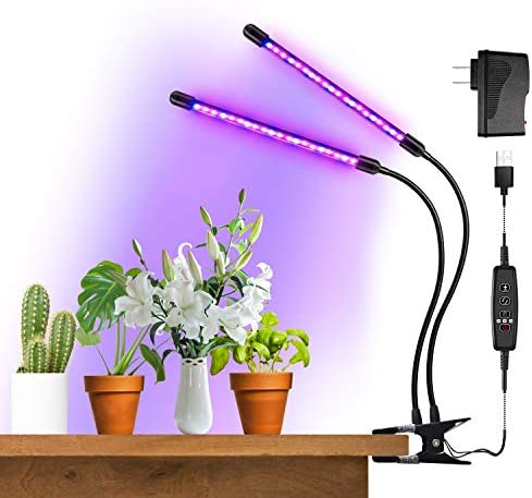 BRIONAC LED Grow Light, 20W 40 LED Full Spectrum Bulbs Plant Growing Lamp, 9 Dimmable Levels, 3 9 12H Timer Grow Lights with Dual Head and 360 Degree Flexible Gooseneck for Indoor Greenhouse Plants