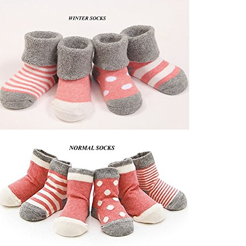 Cuca Dunna Infant Socks Baby Socks Toddler Socks For Girls And Boys,Cute socks 4 Pairs (M 1-3years, Red)