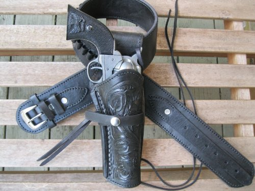 - Shotgun Lilli Gun Belt - Leather - 22 Caliber - Black Color with Right Handed Tooled Holster Combo (38 Inch)