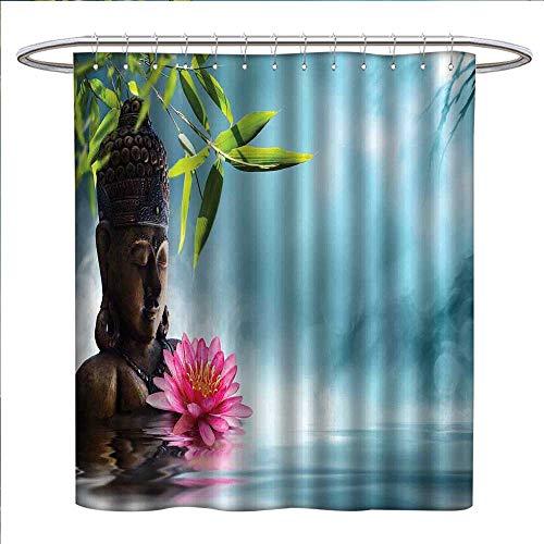 zojihouse Zen Meditation Decor Shower Curtains Sets Bathroom Zen Waterlilly Flowers Spa Decor Nature Feng Shui Natural Calm Water Floral Satin Fabric Sets Bathroom W69 x L70